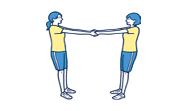 1.向かい合って パートナーと 手を組む