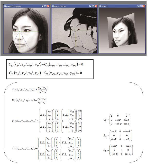 ユーザの顔の特徴点を抽出し、歴史美人画の特徴を持つ顔へと変換するプログラムには、こんな数式が使われる